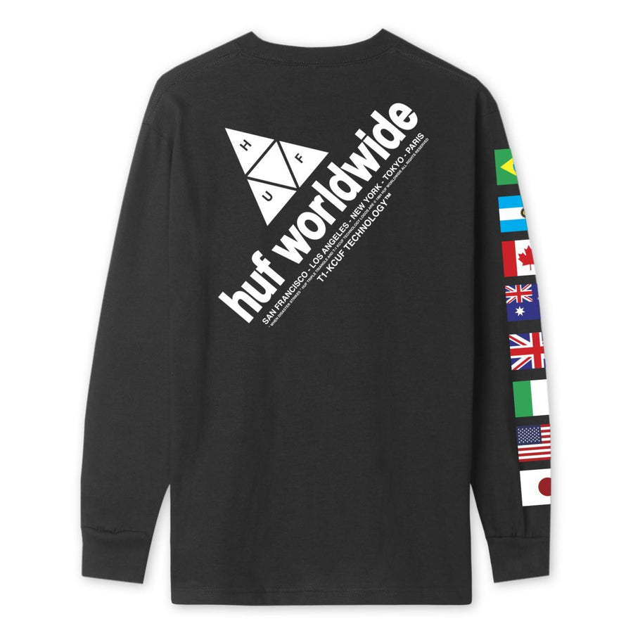 HUF Flag Union L/S T-Shirt Black MENS APPAREL - Men's Long Sleeve T-Shirts huf