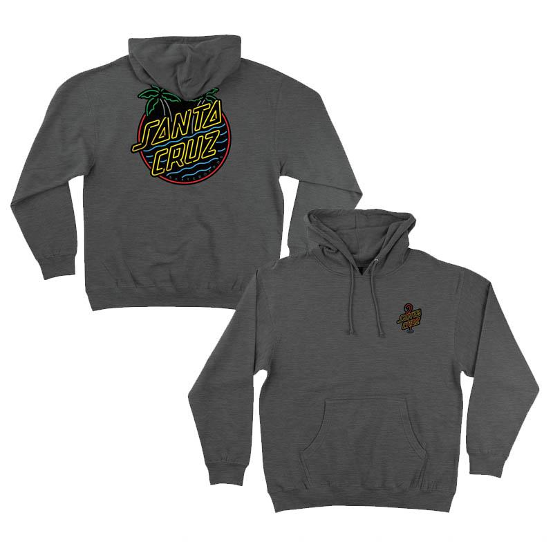 SANTA CRUZ Glow Dot Pullover Hoodie Charcoal Heather MENS APPAREL - Men's Pullover Hoodies Santa Cruz