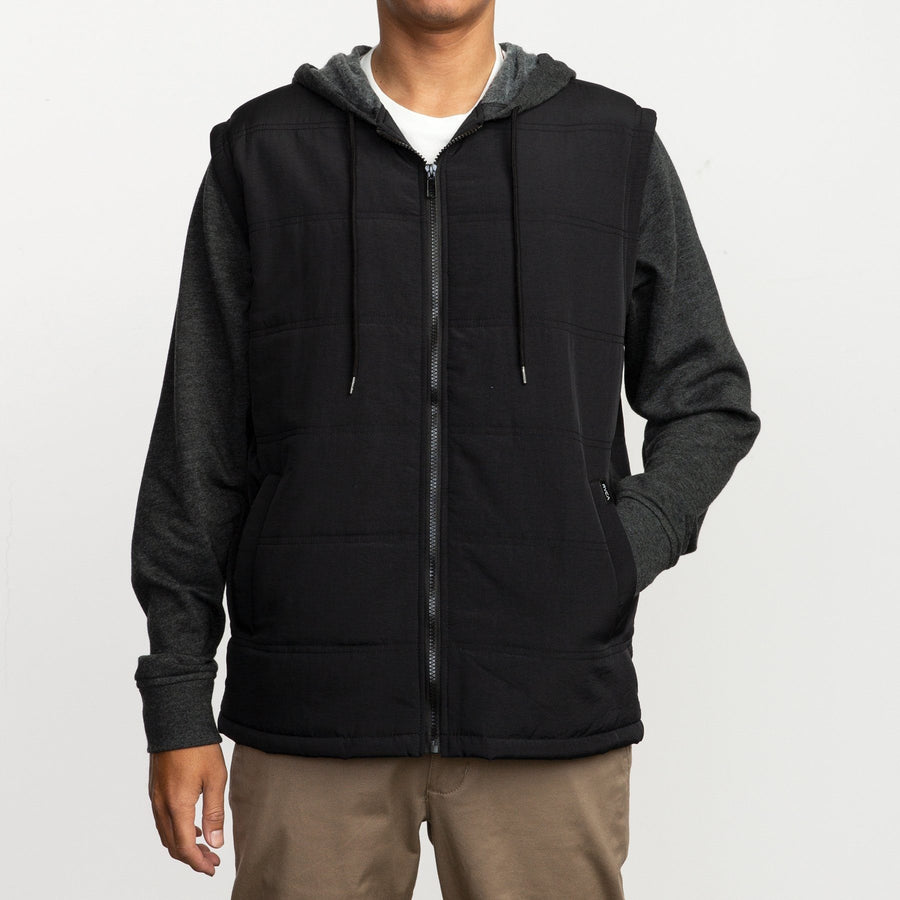 RVCA Logan Puffer Jacket Black/Grey MENS APPAREL - Men's Street Jackets RVCA