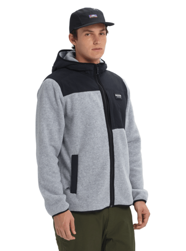 BURTON Hearth Full Zip Hoodie Grey Heather/True Black MENS APPAREL - Men's Zip Hoodies Burton