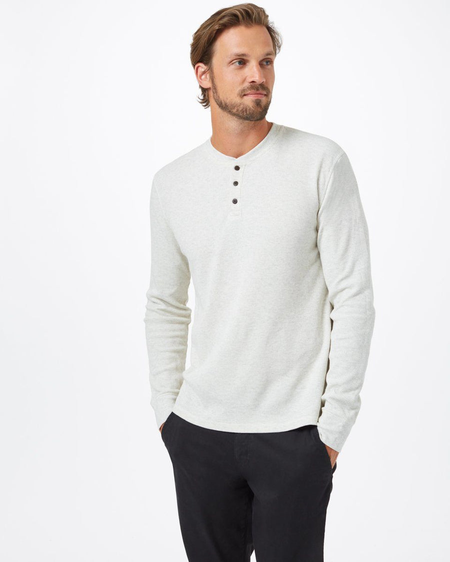 TENTREE TreeWaffle Henley Longsleeve Elm White MENS APPAREL - Men's Long Sleeve T-Shirts Tentree