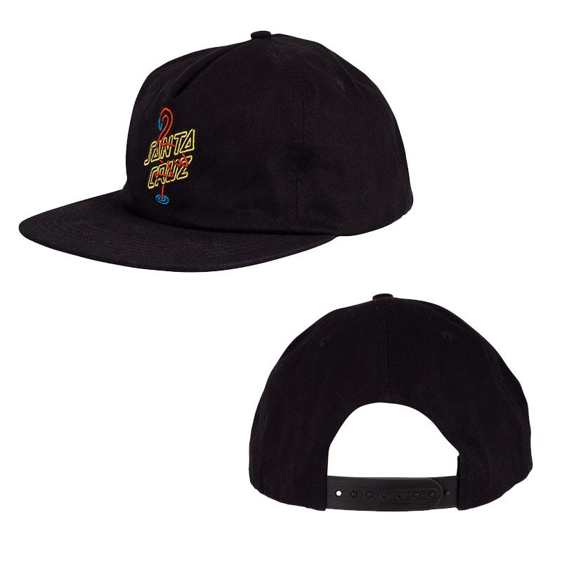 SANTA CRUZ Glow Snapback Hat Black MENS ACCESSORIES - Men's Baseball Hats Santa Cruz