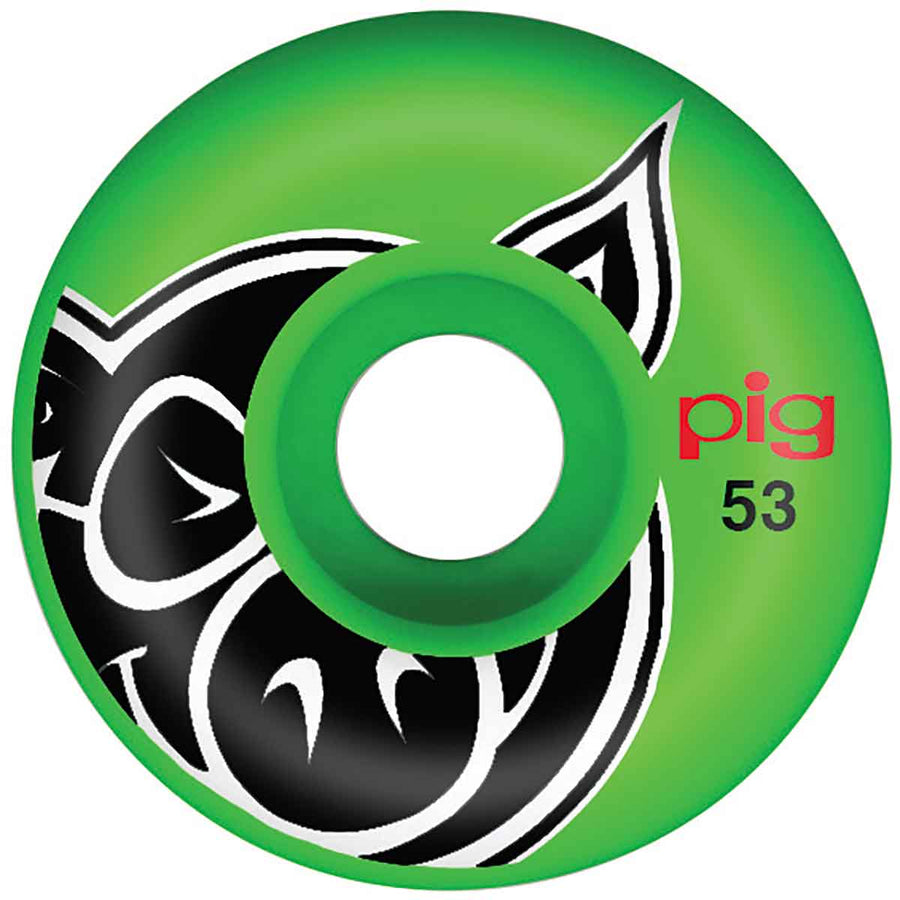 PIG Pig Head Green Proline 53mm Skateboard Wheels SKATE SHOP - Skateboard Wheels Pig