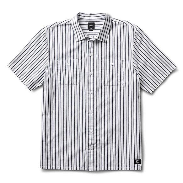 VANS Rowan Workwear Button Up Shirt White/Dress Blues