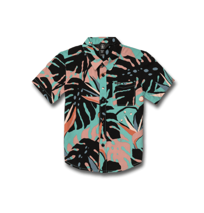 VOLCOM Mentawais S/S Button Up Shirt Boys Mysto Green KIDS APPAREL - Boy's T-Shirts Volcom