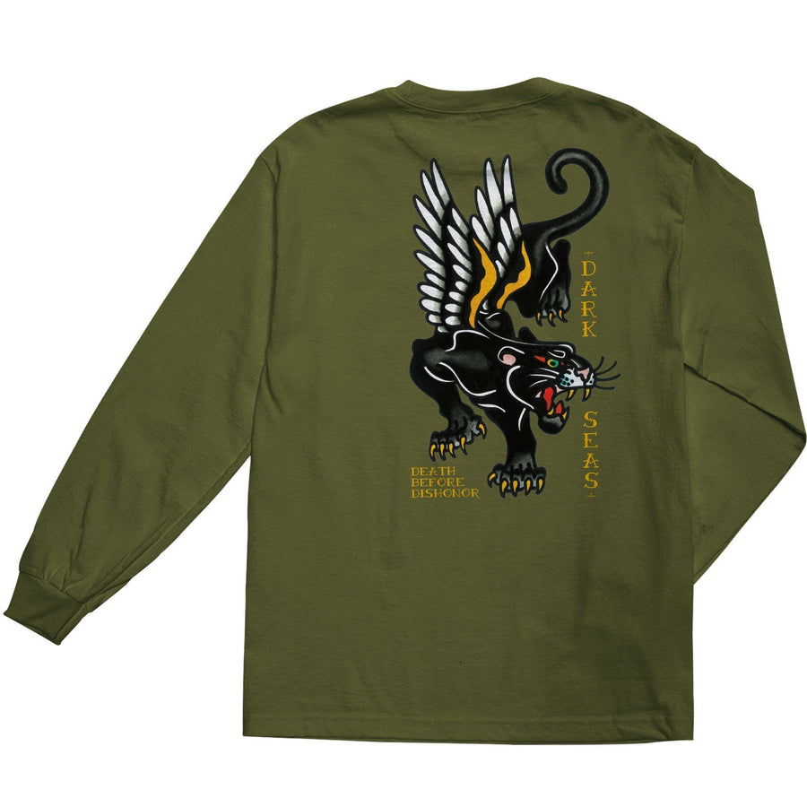 DARK SEAS Pounce Long Sleeve T-Shirt Military Green MENS APPAREL - Men's Long Sleeve T-Shirts Dark Seas