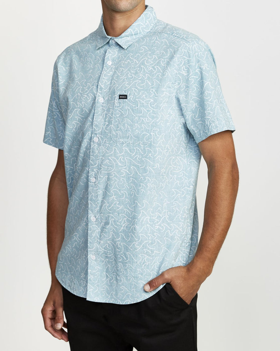 RVCA Oblow Waves S/S Button Up Bermuda Blue MENS APPAREL - Men's Short Sleeve Button Up Shirts RVCA
