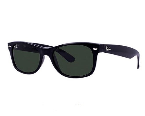 RAY-BAN New Wayfarer Classic 55 Black - Green Classic G-15 Polarized Sunglasses SUNGLASSES - Ray-Ban Sunglasses Ray-Ban