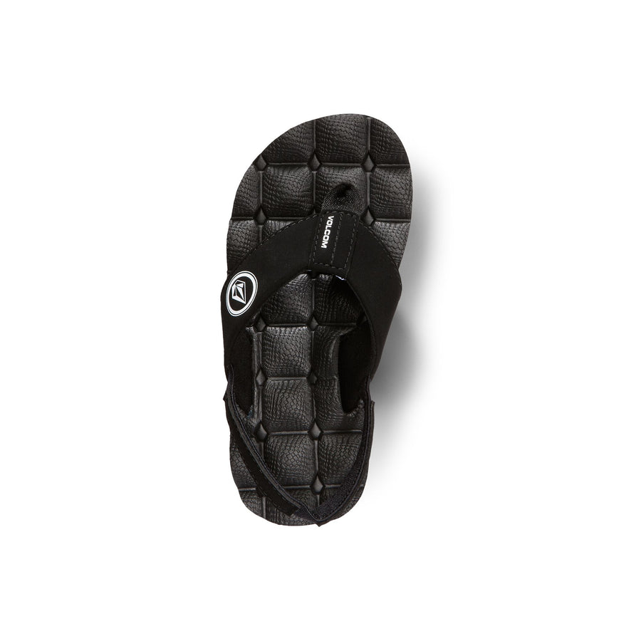 VOLCOM Recliner Sandals Little Youth Black White