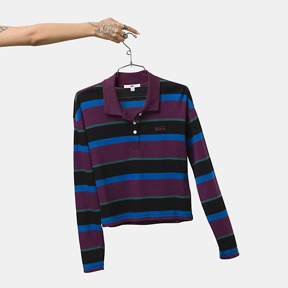 VANS Strip It Long Sleeve Polo Shirt Women's Black WOMENS APPAREL - Women's Long Sleeve T-Shirts Vans
