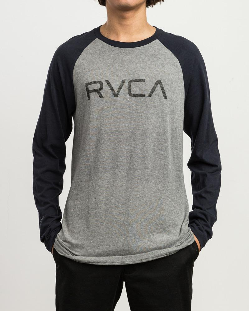 RVCA Big RVCA Baseball Raglan 3/4 Sleeve T-Shirt Grey Noise/ Navy