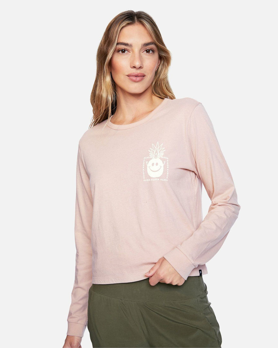 HURLEY Pinappleyea L/S T-Shirt Women's Stone WOMENS APPAREL - Women's Long Sleeve T-Shirts Hurley