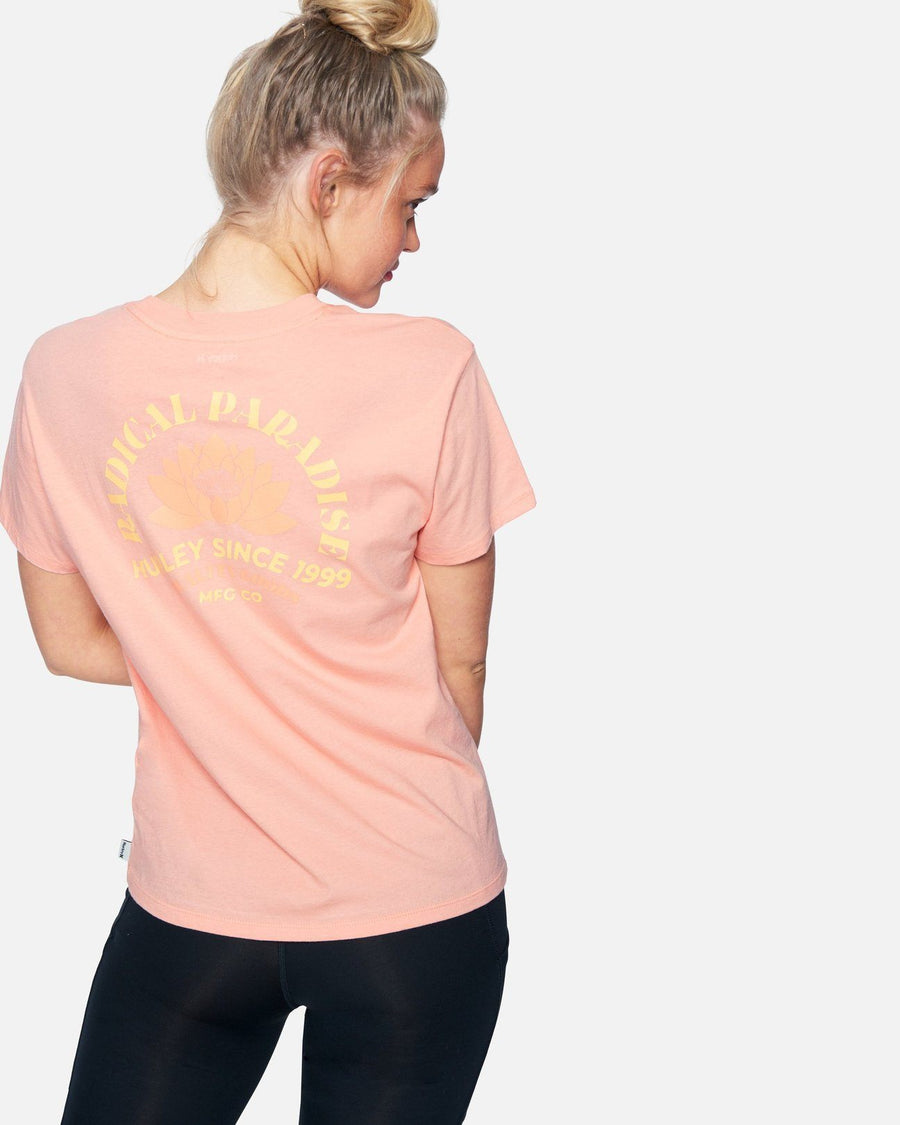 HURLEY Radical Lotus Washed T-Shirt Women's Crimson WOMENS APPAREL - Women's T-Shirts Hurley