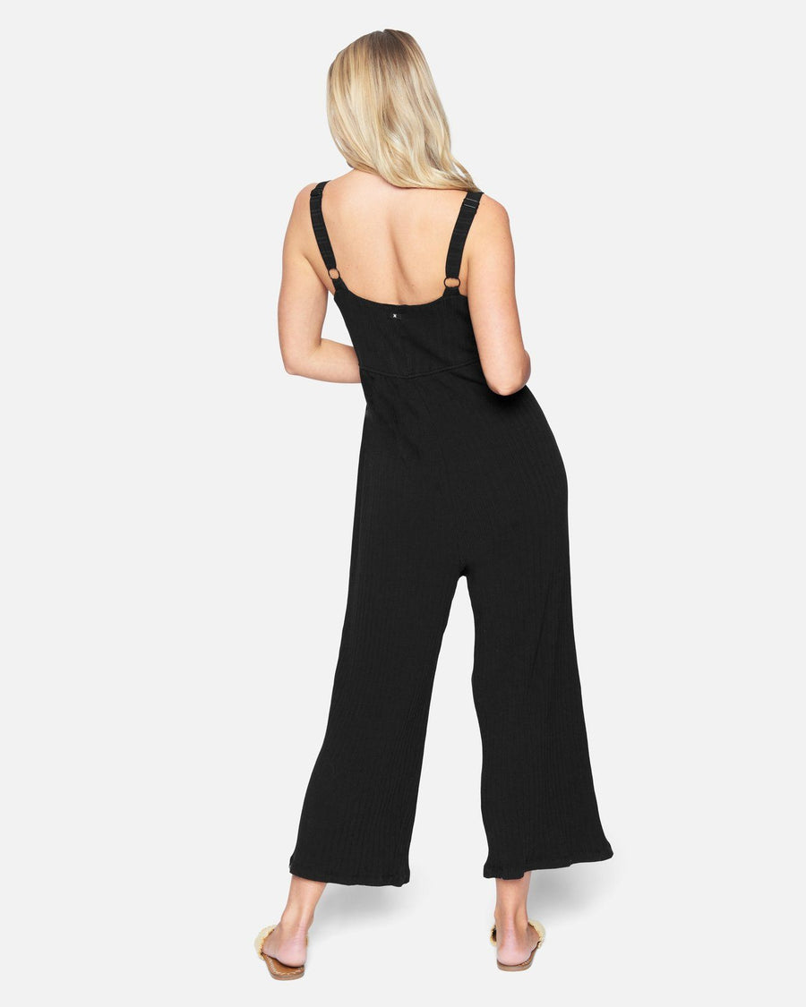 HURLEY Day Tripper Crop Jumpsuit Women's Black WOMENS APPAREL - Women's Jumpers and Rompers Hurley