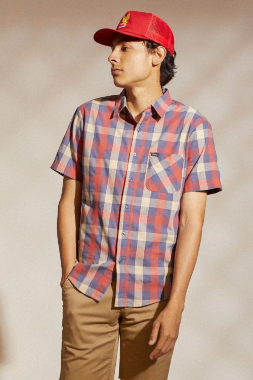 BRIXTON Charter Plaid S/S Woven Button Up Shirt Washed Navy/Autumn