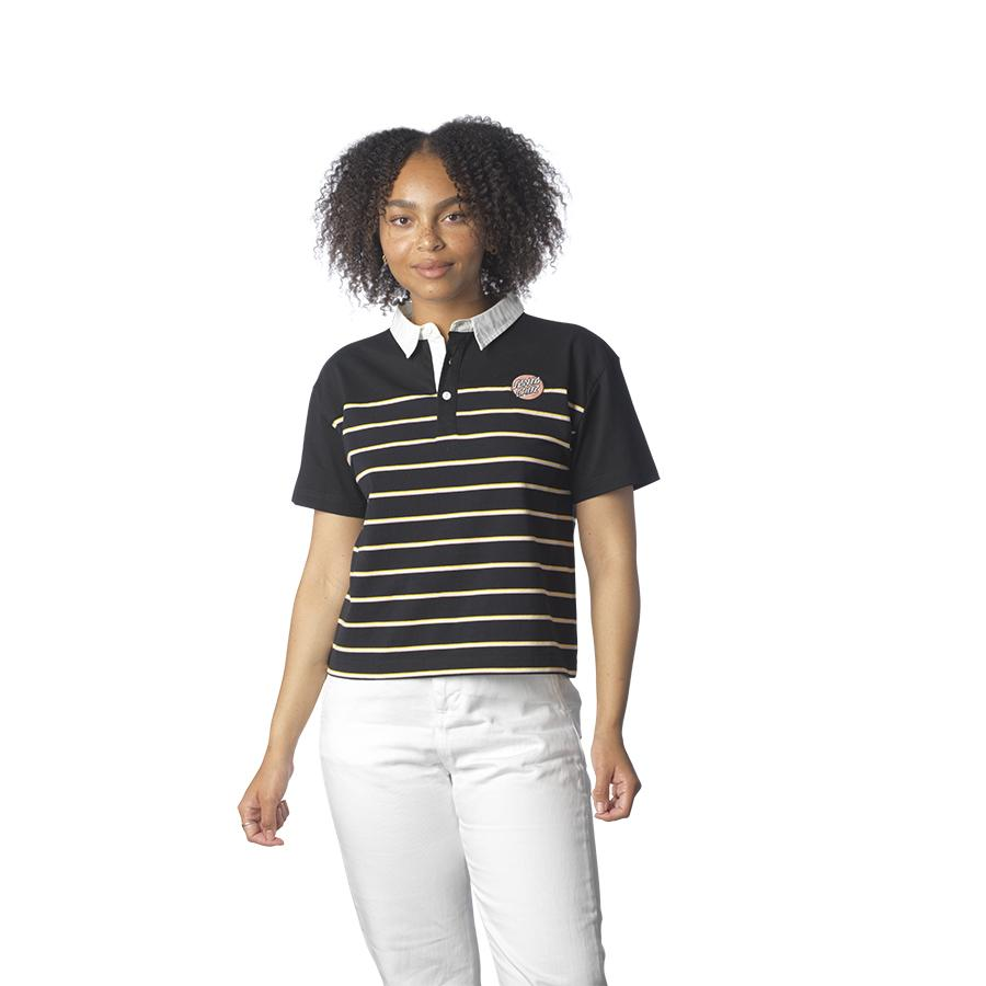SANTA CRUZ Mini Dot Polo Shirt Women's Black Stripe WOMENS APPAREL - Women's T-Shirts Santa Cruz S