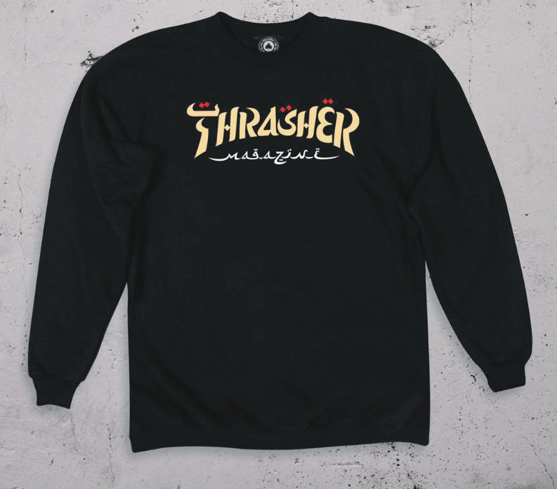 THRASHER Calligraphy Crew Sweater Black MENS APPAREL - Men's Sweaters and Sweatshirts Thrasher