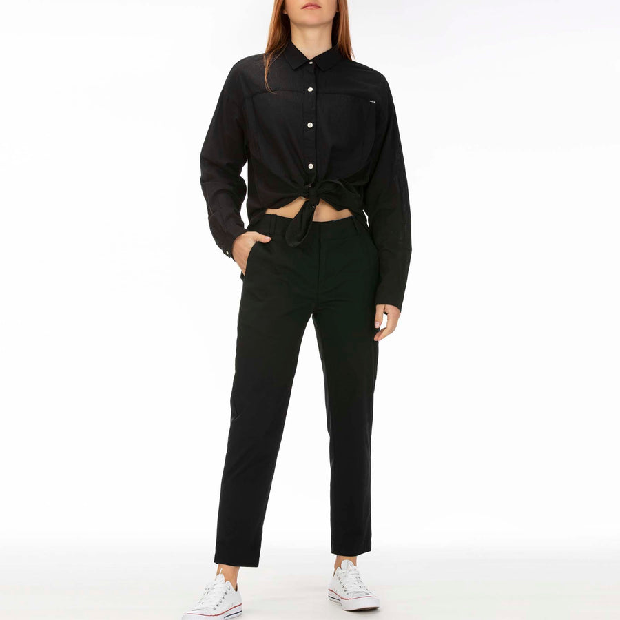 HURLEY Wilson Shadow Dolman L/S Button Up Women's Black WOMENS APPAREL - Women's Flannels and Button Ups Hurley