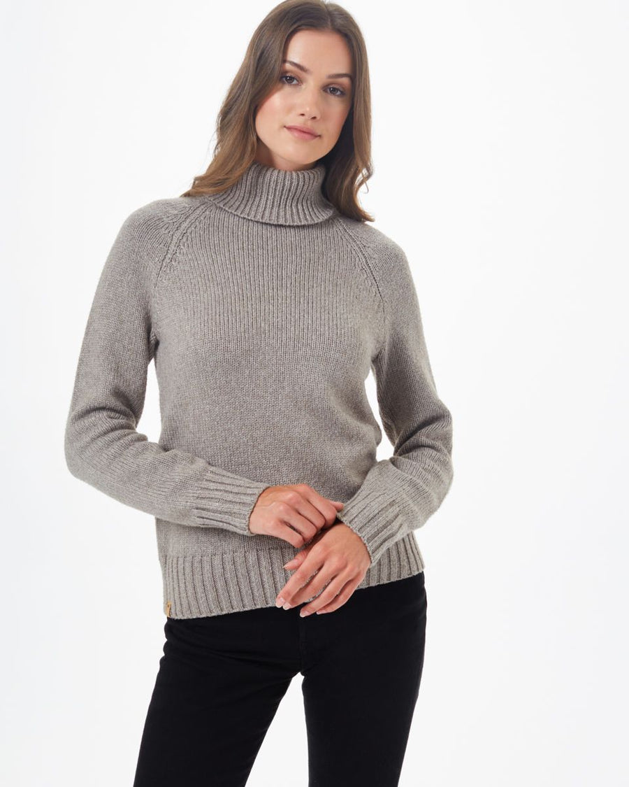 TENTREE Highline Wool Turtleneck Sweater Women's Desert Taupe Heather WOMENS APPAREL - Women's Knits and Sweaters Tentree