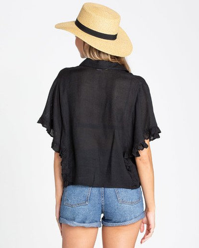 BILLABONG Find Me Blouse Womens Black WOMENS APPAREL - Women's Blouses Billabong