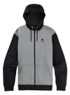 BURTON Oak Full Zip Hoodie Grey Heather/True Black MENS APPAREL - Men's Zip Hoodies Burton