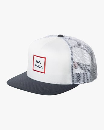 RVCA All The Way III Trucker Hat White/Red MENS ACCESSORIES - Men's Baseball Hats RVCA