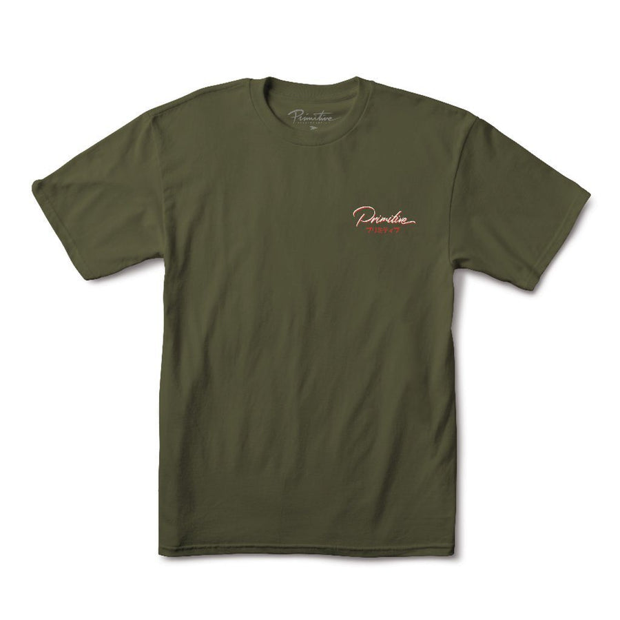 PRIMITIVE Osaka T-Shirt Military Green MENS APPAREL - Men's Short Sleeve T-Shirts Primitive
