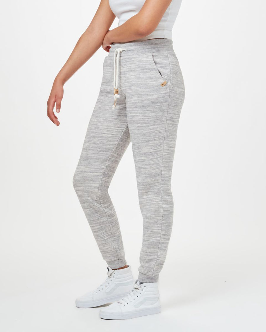 TENTREE Bamone Sweatpant Women's Hi Rise Grey Space Dye WOMENS APPAREL - Women's Sweatpants Tentree