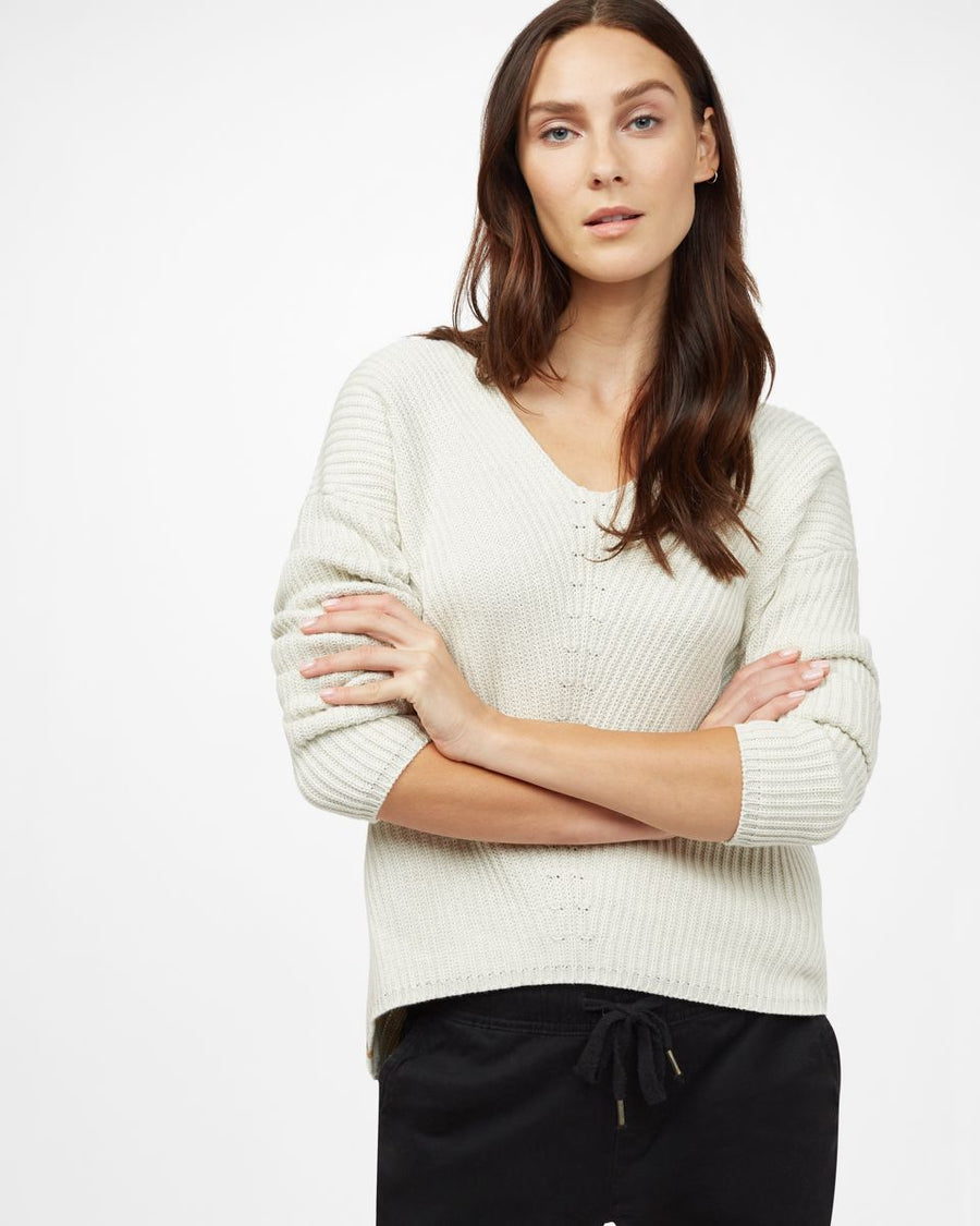 TENTREE Highline Sweater Women's Elm White Heather WOMENS APPAREL - Women's Knits and Sweaters Tentree