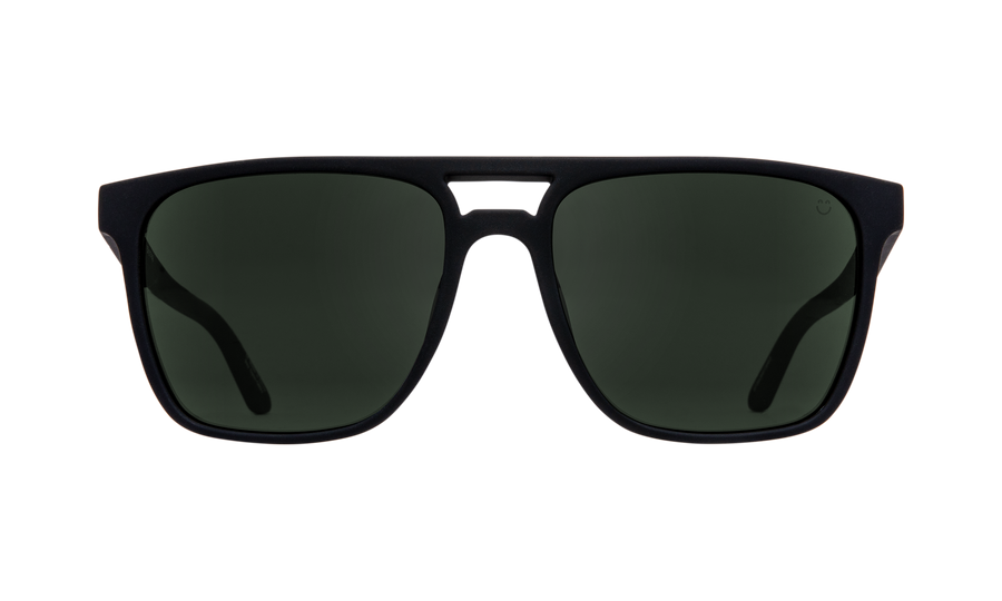 SPY Czar Soft Matte Black - HD Plus Grey Green Sunglasses