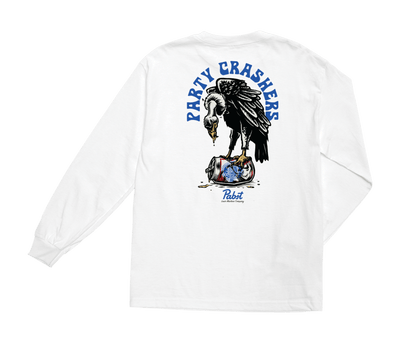 LOSER MACHINE X PABST Party Crashers Long Sleeve T-Shirt White MENS APPAREL - Men's Long Sleeve T-Shirts Loser Machine