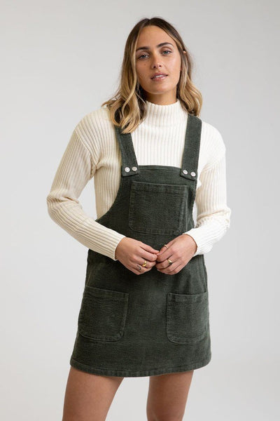 RHYTHM Edinburge Pinafore Dress Women's Forest WOMENS APPAREL - Women's Dresses Rhythm