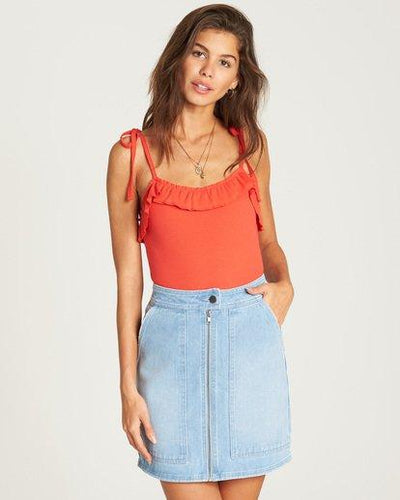 BILLABONG Ride Right Fitted Denim Skirt Pool Blue