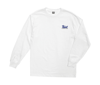 LOSER MACHINE X PABST Party Crashers Long Sleeve T-Shirt White MENS APPAREL - Men's Long Sleeve T-Shirts Loser Machine L