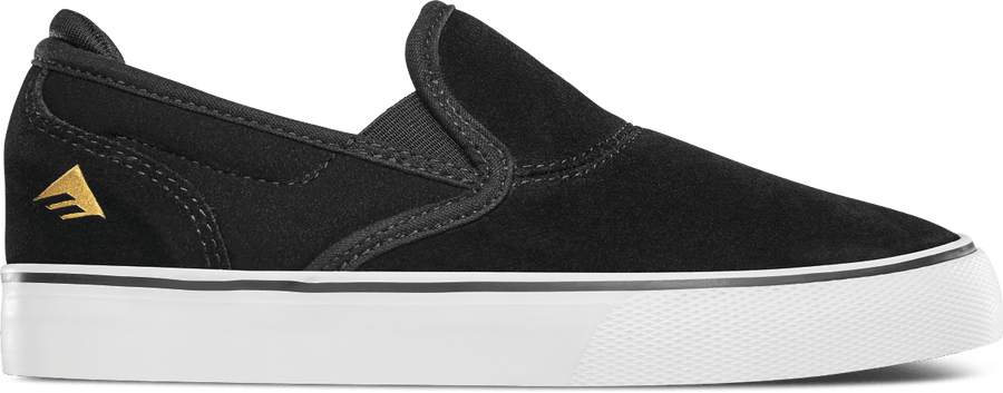 EMERICA Wino G6 Slip On Shoes Youth Black/White/Gold FOOTWEAR - Youth and Toddler Skate Shoes Emerica