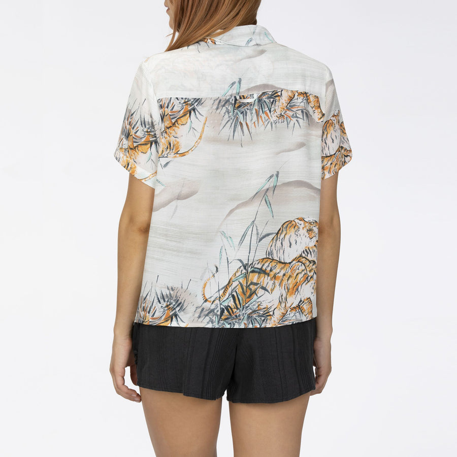 HURLEY Getaway Printed S/S Shirt Womens Midnight Turq WOMENS APPAREL - Women's Blouses Hurley