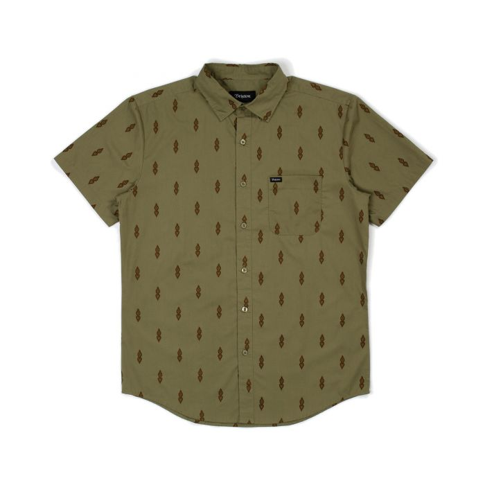 BRIXTON Charter Print S/S Button Up Washed Olive