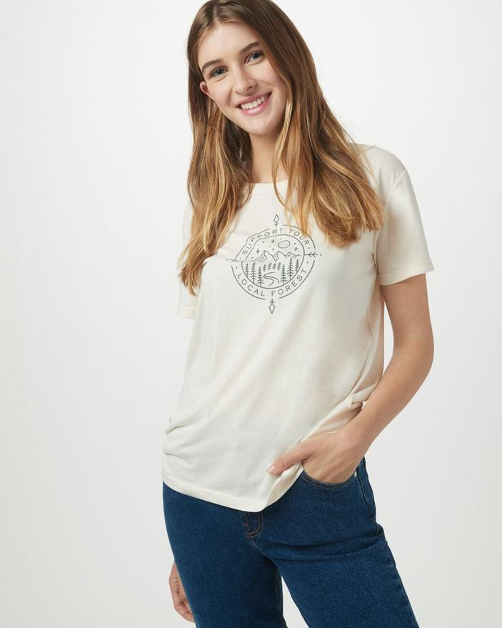 TENTREE Support T-Shirt Elm White Heather WOMENS APPAREL - Women's T-Shirts Tentree L