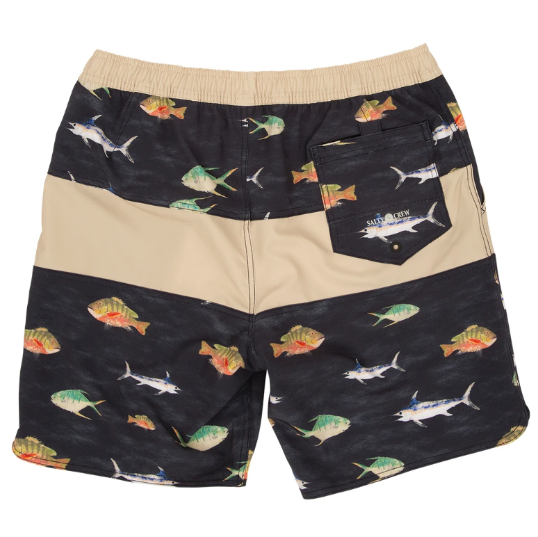 SALTY CREW Fish Stamp Elastic Boardshorts Black
