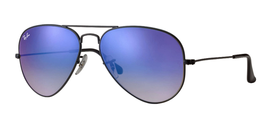 RAY-BAN Aviator Classic 55 Black - Blue Gradient Flash Sunglasses SUNGLASSES - Ray-Ban Sunglasses Ray-Ban