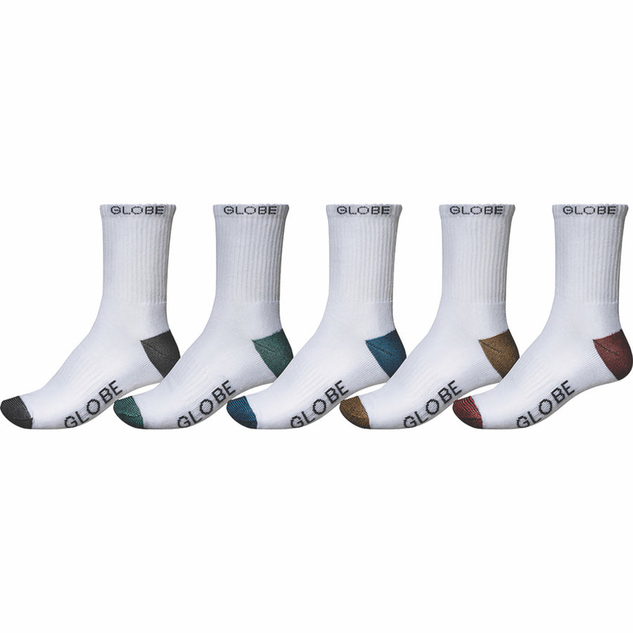 GLOBE Ingles Crew Socks 5 Pack White