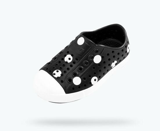 NATIVE Jefferson Child Shoes Polka Dot Print Jiffy Black/Shell White FOOTWEAR - Youth Native and People Shoes Native Shoes