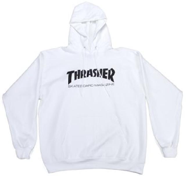 THRASHER Skate Mag Pullover Hoodie White MENS APPAREL - Men's Pullover Hoodies Thrasher