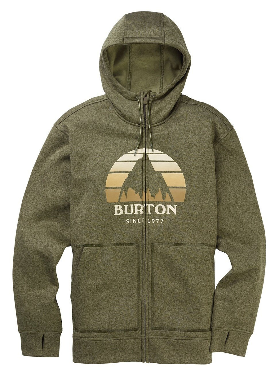 BURTON Oak Full Zip Hoodie Keef Heather MENS APPAREL - Men's Zip Hoodies Burton