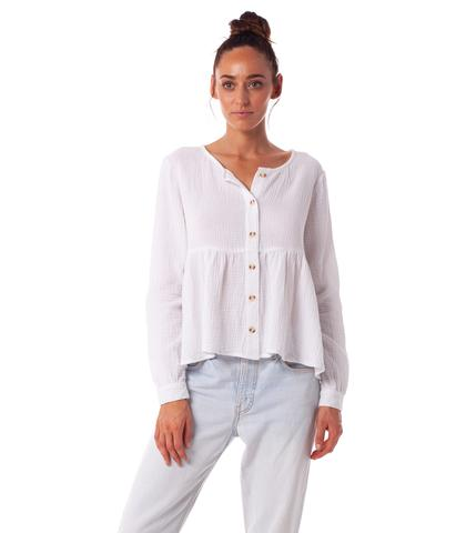 RHYTHM Camille L/S Top White WOMENS APPAREL - Women's Flannels and Button Ups Rhythm L