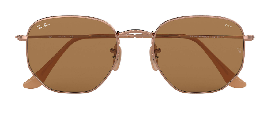 RAY-BAN Hexagonal Washed Evolve Bronze/Copper - Brown Photochromic Evolve Sunglasses SUNGLASSES - Ray-Ban Sunglasses Ray-Ban