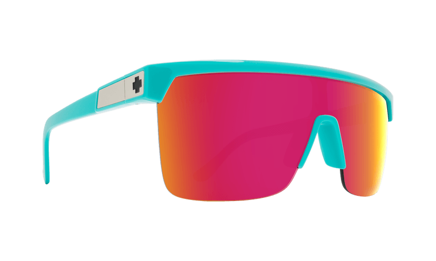 SPY Flynn 5050 Teal - HD Plus Grey Green w/ Pink Spectra Mirror Sunglasses