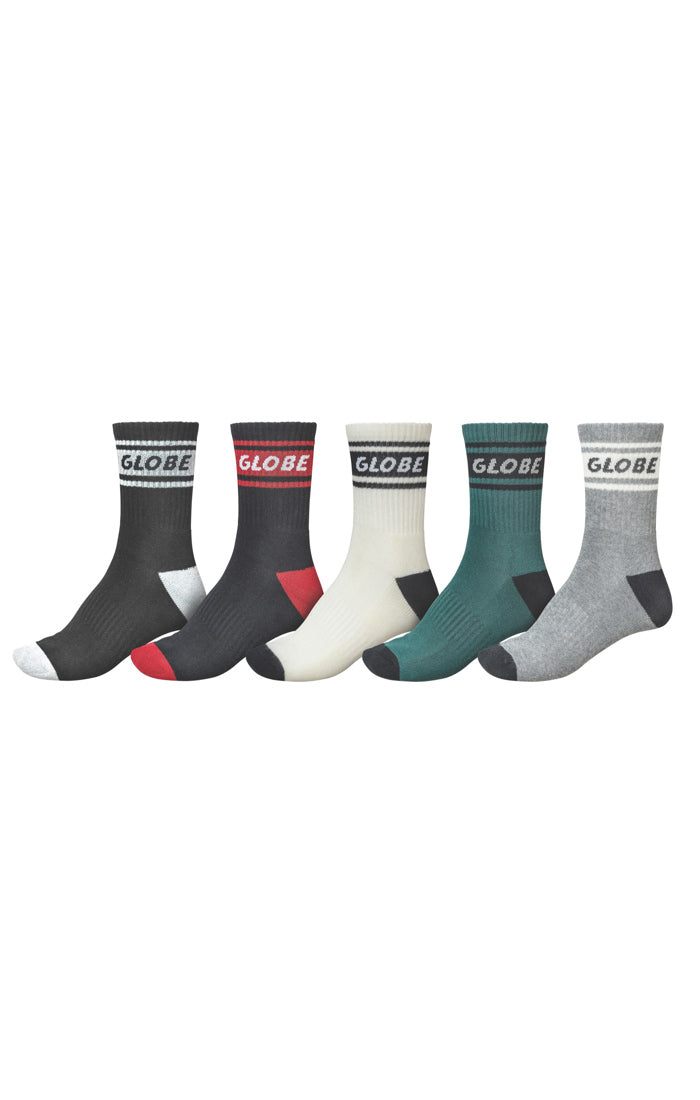 GLOBE Schooler Crew Socks 5 Pack Assorted