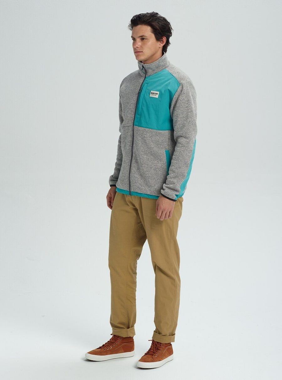 BURTON Hayrider Full Zip Sweater Grey Heather/Green-Blue Slate MENS APPAREL - Men's Sweaters and Sweatshirts Burton