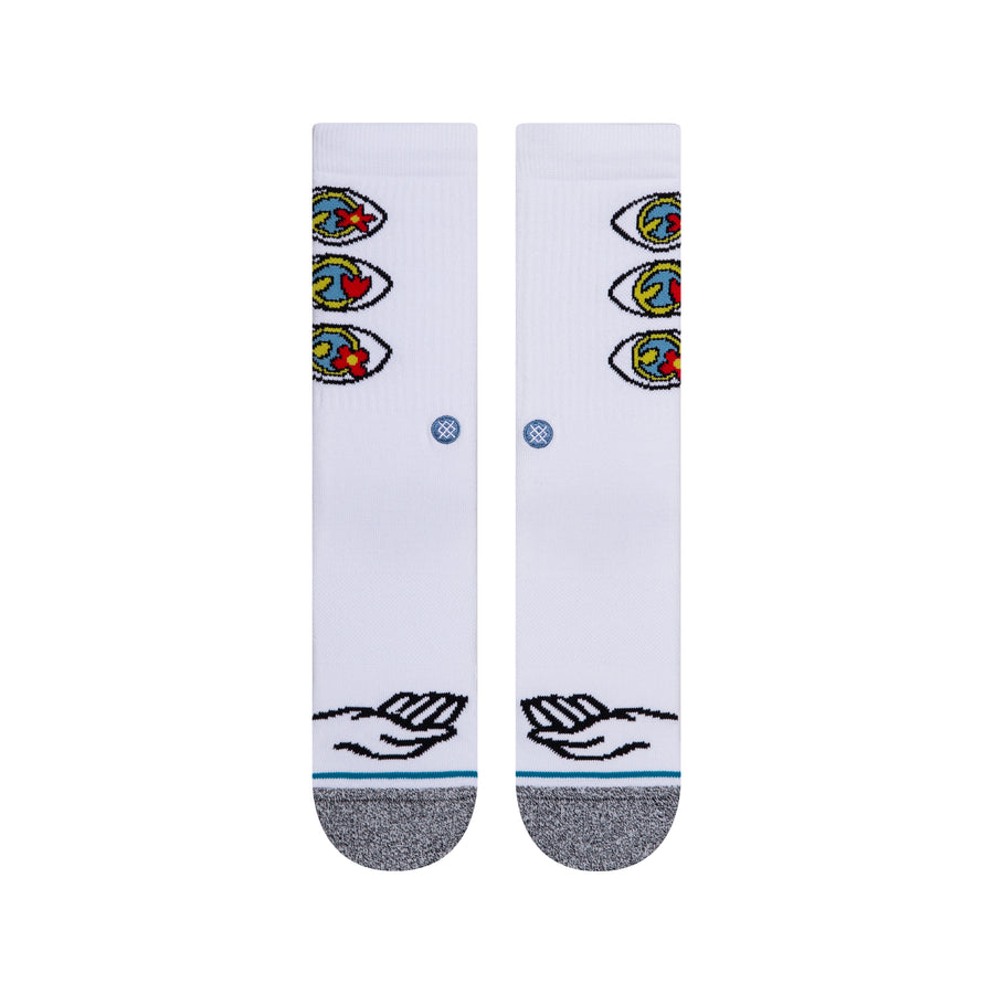 STANCE Hand And Eye Crew Socks White